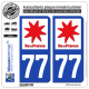 2 Autocollants plaque immatriculation Auto 77 Ile-de-France - LogoType