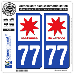 2 Autocollants plaque immatriculation Auto 77 Ile-de-France - LogoType