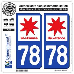 2 Autocollants plaque immatriculation Auto 78 Ile-de-France - LogoType