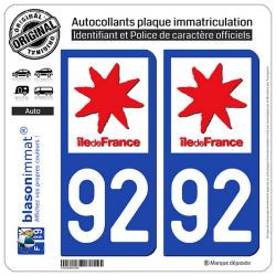 2 Autocollants plaque immatriculation Auto 92 Ile-de-France - LogoType