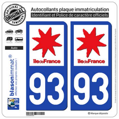 2 Autocollants plaque immatriculation Auto 93 Ile-de-France - LogoType