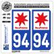 2 Autocollants plaque immatriculation Auto 94 Ile-de-France - LogoType