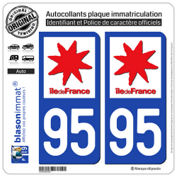 2 Autocollants plaque immatriculation Auto 95 Ile-de-France - LogoType