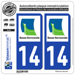 2 Autocollants plaque immatriculation Auto 14 Basse-Normandie - LogoType
