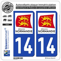 2 Autocollants plaque immatriculation Auto 14 Normandie - LogoType