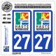 2 Autocollants plaque immatriculation Auto 27 Haute-Normandie - LogoType
