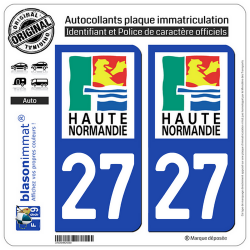 2 Autocollants plaque immatriculation Auto 27 Haute-Normandie - LogoType