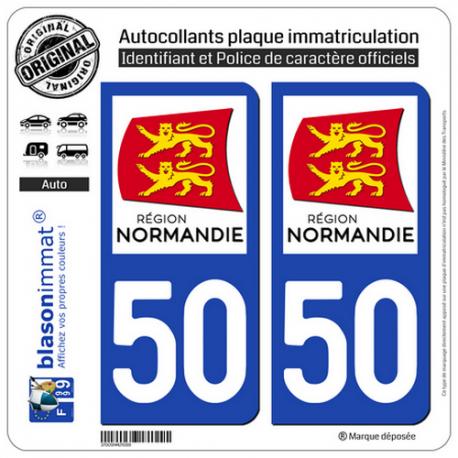 2 Autocollants plaque immatriculation Auto 50 Normandie - LogoType