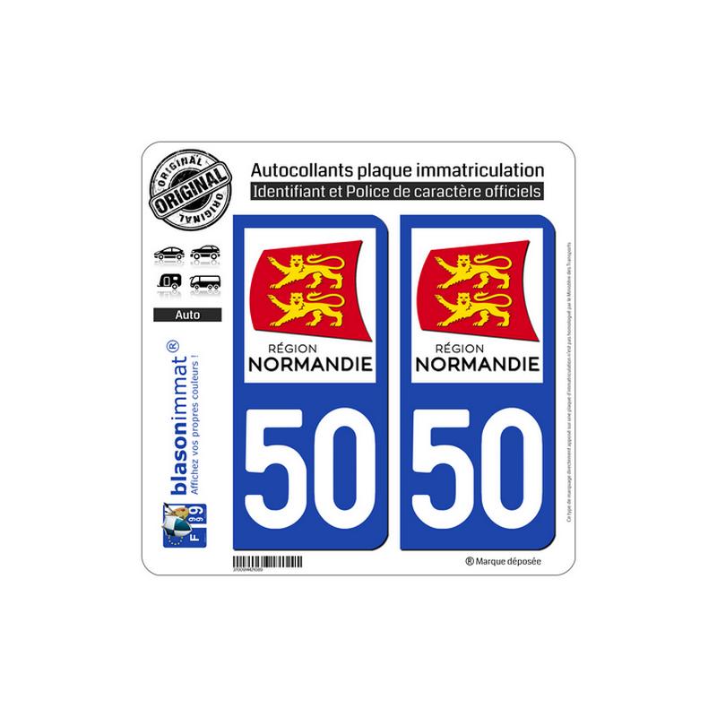 autocollant plaque immatriculation departement 50 manche logotype ii. Black Bedroom Furniture Sets. Home Design Ideas