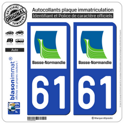 2 Autocollants plaque immatriculation Auto 61 Basse-Normandie - LogoType