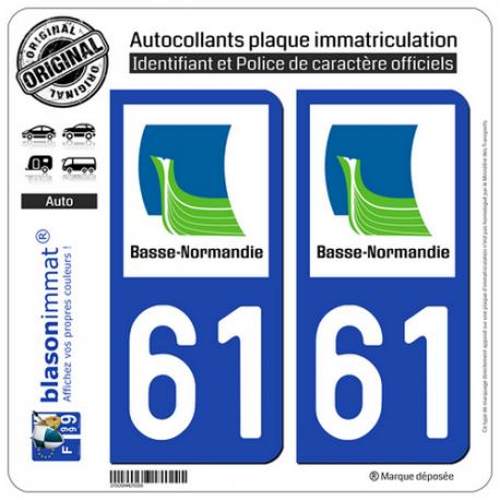 2 Autocollants plaque immatriculation Auto 61 Basse-Normandie - LogoType