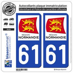 2 Autocollants plaque immatriculation Auto 61 Normandie - LogoType