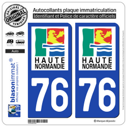 2 Autocollants plaque immatriculation Auto 76 Haute-Normandie - LogoType