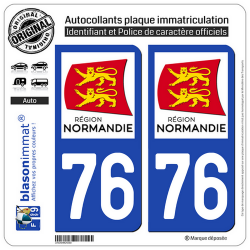 2 Autocollants plaque immatriculation Auto 76 Normandie - LogoType