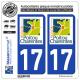 2 Autocollants plaque immatriculation Auto 17 Poitou-Charentes - LogoType