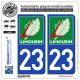 2 Autocollants plaque immatriculation Auto 23 Limousin - LogoType