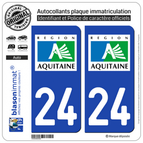 2 Autocollants plaque immatriculation Auto 24 Aquitaine - LogoType