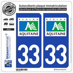 2 Autocollants plaque immatriculation Auto 33 Aquitaine - LogoType