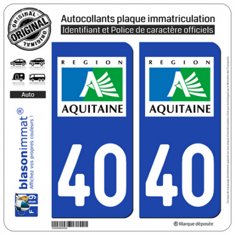2 Autocollants plaque immatriculation Auto 40 Aquitaine - LogoType