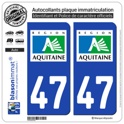 2 Autocollants plaque immatriculation Auto 47 Aquitaine - LogoType