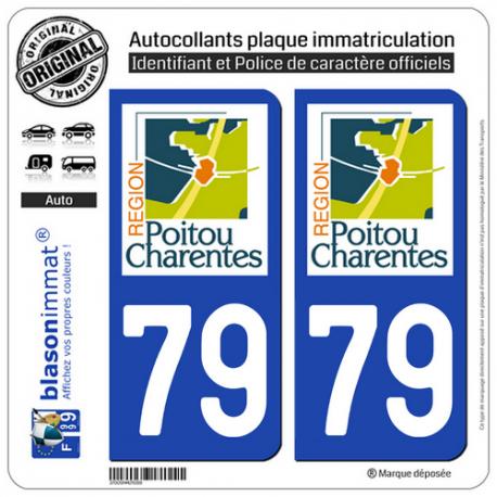 2 Autocollants plaque immatriculation Auto 79 Poitou-Charentes - LogoType
