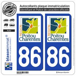 2 Autocollants plaque immatriculation Auto 86 Poitou-Charentes - LogoType