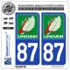 2 Autocollants plaque immatriculation Auto 87 Limousin - LogoType