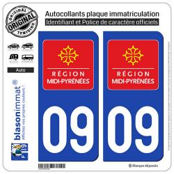 2 Autocollants plaque immatriculation Auto 09 Midi-Pyrénées - LogoType