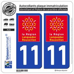 2 Autocollants plaque immatriculation Auto 11 Languedoc-Roussillon - LogoType