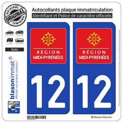 2 Autocollants plaque immatriculation Auto 12 Midi-Pyrénées - LogoType