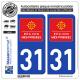 2 Autocollants plaque immatriculation Auto 31 Midi-Pyrénées - LogoType