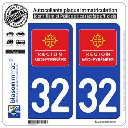 2 Autocollants plaque immatriculation Auto 32 Midi-Pyrénées - LogoType