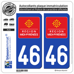 2 Autocollants plaque immatriculation Auto 46 Midi-Pyrénées - LogoType