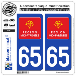 2 Autocollants plaque immatriculation Auto 65 Midi-Pyrénées - LogoType