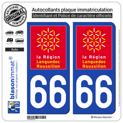 2 Autocollants plaque immatriculation Auto 66 Languedoc-Roussillon - LogoType