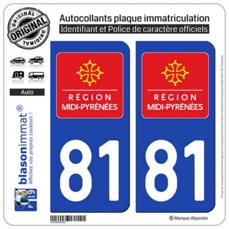 2 Autocollants plaque immatriculation Auto 81 Midi-Pyrénées - LogoType