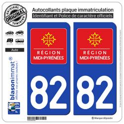 2 Autocollants plaque immatriculation Auto 82 Midi-Pyrénées - LogoType