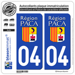 2 Autocollants plaque immatriculation Auto 04 PACA - LogoType