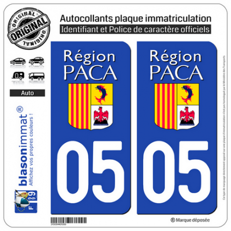 2 Autocollants plaque immatriculation Auto 05 PACA - LogoType