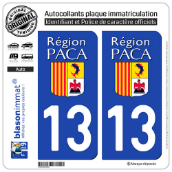 2 Autocollants plaque immatriculation Auto 13 PACA - LogoType