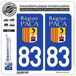2 Autocollants plaque immatriculation Auto 83 PACA - LogoType
