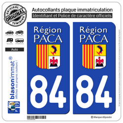 2 Autocollants plaque immatriculation Auto 84 PACA - LogoType