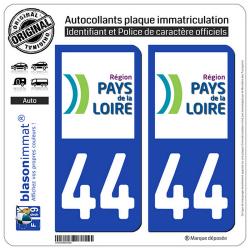 2 Autocollants plaque immatriculation Auto 44 Pays de la Loire - LogoType