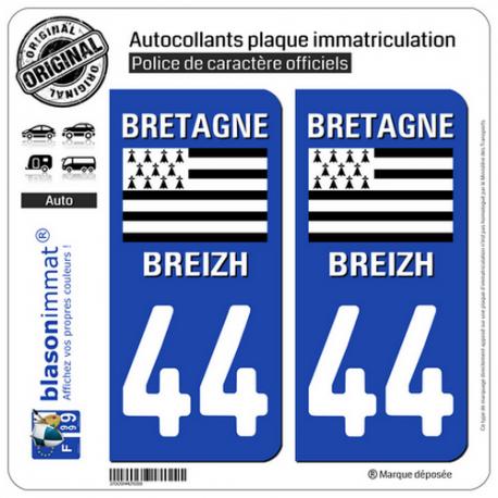 2 Autocollants plaque immatriculation Auto 44 Bretagne - Drapeau Historique