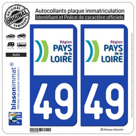 2 Autocollants plaque immatriculation Auto 49 Pays de la Loire - LogoType