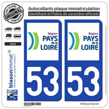 2 Autocollants plaque immatriculation Auto 53 Pays de la Loire - LogoType