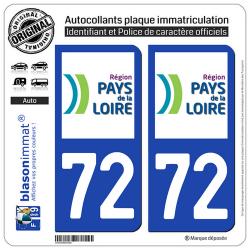 2 Autocollants plaque immatriculation Auto 72 Pays de la Loire - LogoType