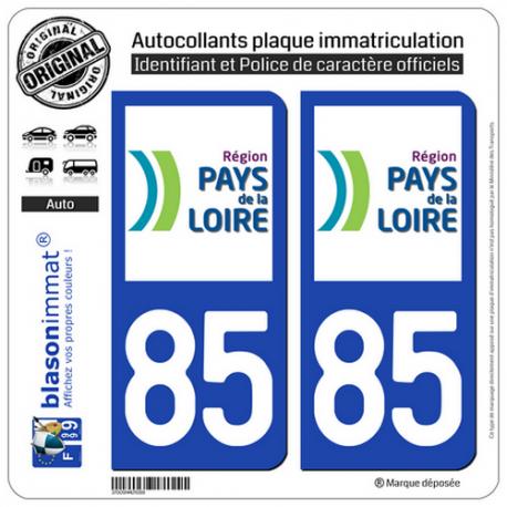 2 Autocollants plaque immatriculation Auto 85 Pays de la Loire - LogoType