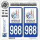 2 Autocollants immatriculation Auto 988-H Nouvelle-Calédonie - Gouvernement