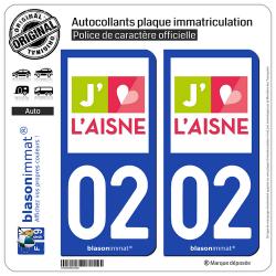 2 Autocollants plaque immatriculation Auto 02 Aisne - Tourisme